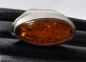 Mobile Preview: Bernstein Ring Nr. 5, Baltic Amber in 925 Silber gefasst